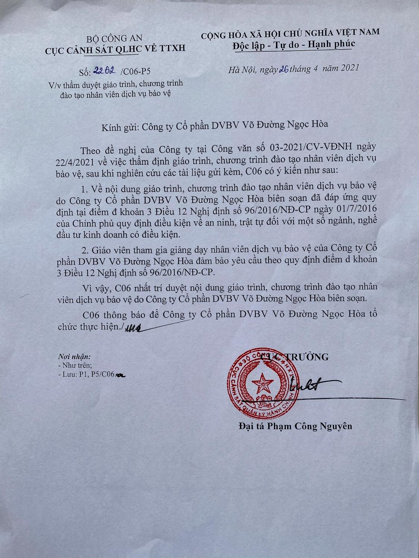 Giáo trình tự đào tạo của Công ty CP DVBV Võ Đường Ngọc Hòa được C06-BCA thẩm duyêt.